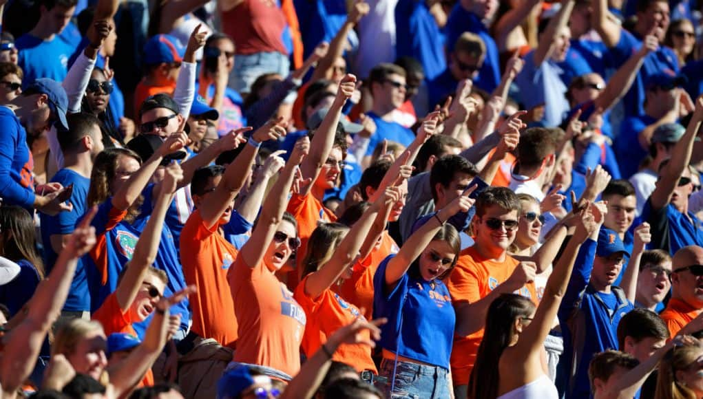 University off Florida students cheer for the Florida Gators during a 38-17 loss to the Missouri Tigers in 2018- Florida Gators football- 1280x853