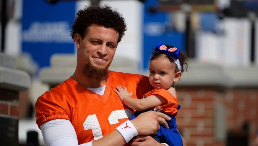 Florida Gators quarterback Feleipe Franks and his niece at spring practice- 1280x853