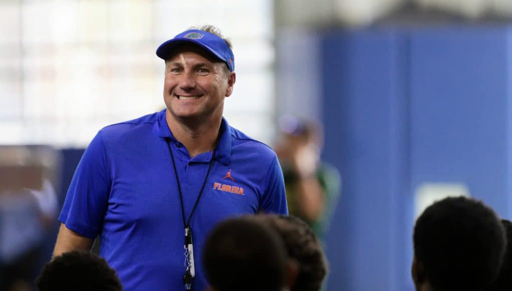 University of Florida head coach Dan Mullen addresses campers before Friday Night Lights begins - Florida Gators football- 1280x853