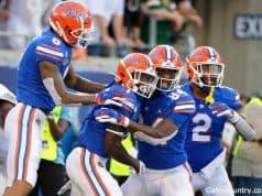 Florida Gators receiver Kadarius Toney celebrates a touchdown against Miami- 1280x853