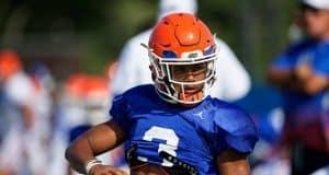 University of Florida cornerback Marco Wilson stretches before the Florida Gators third fall practice in 2018- Florida Gators football- 1280x853
