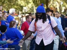 University of Florida defensive tackle Elijah Conliffe greets fans during Gator Walk before the Gators game against Idaho- Florida Gators football- 1280x853