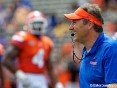 University of Florida head coach Dan Mullen calling plays during the Florida Gators Orange and Blue Debut- Florida Gators football- 1280x853