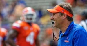 University of Florida head coach Dan Mullen calling plays during the Florida Gators Orange and Blue Debut- Florida Gators football- 1280x853