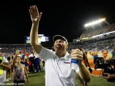 University of Florida head coach Dan Mullen celebrates the Florida Gators 24-20 win over Miami- Florida Gators football-1280x853