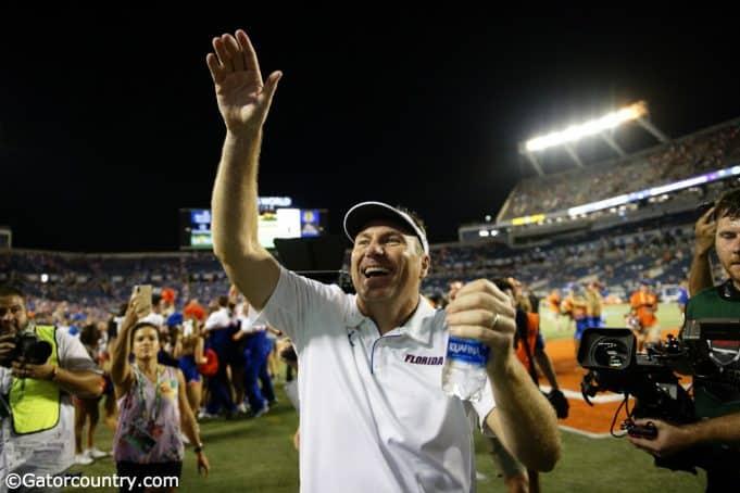 University of Florida head coach Dan Mullen celebrates the Florida Gators 24-20 win over Miami- Florida Gators football-1280x853