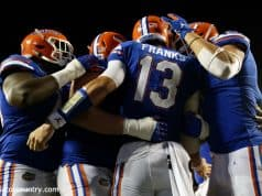 University of Florida quarterback Feleipe Franks celebrates with teammates after scoring a touchdown to put Florida up 24-20 over Miami- Florida Gators football-1280x853