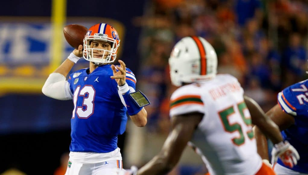 University of Florida quarterback Feleipe Franks throws a pass against the Miami Hurricanes- Florida Gators football- 1280x853