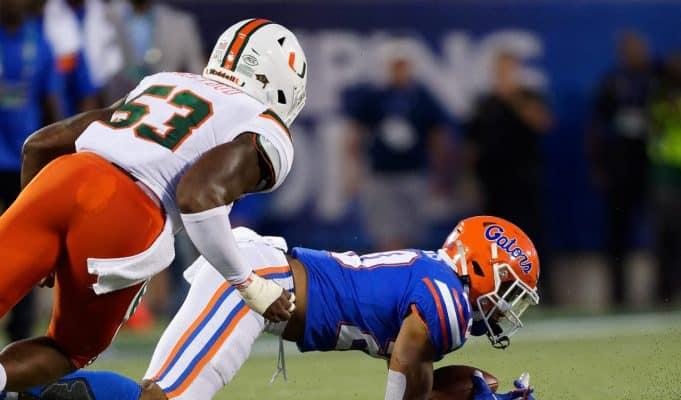 University of Florida running back Malik Davis falls down on a fumble in the second quarter against Miami- Florida Gators football- 1280x853