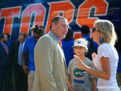Florida Gators head coach Dan Mullen at Gator Walk before the UT Martin game- 1280x853