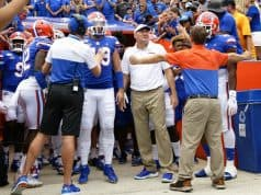 Florida Gators head coach Dan Mullen before the Gators in the Swamp- 1280x1024