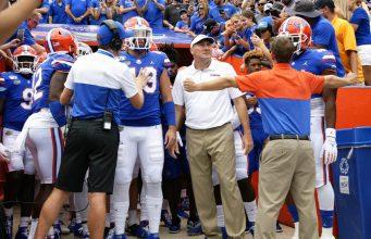 Florida Gators head coach Dan Mullen before the Gators in the Swamp- 1280x1024
