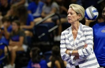 Florida Gators head coach Mary Wise coaches the Gators in 2019- 1280x853