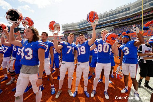 Florida Gators place kicker Evan McPherson and the team celebrate a win over Tennessee- 1280x852