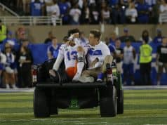 Florida Gators quarterback Feleipe Franks is carted off the field against Kentucky- 1280x882
