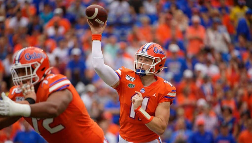 Florida Gators quarterback Kyle Trask throws a touchdown against Towson- 1280x853
