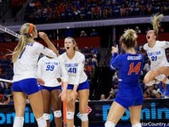 Florida Gators volleyball celebrates a point in 2019- 1280x853