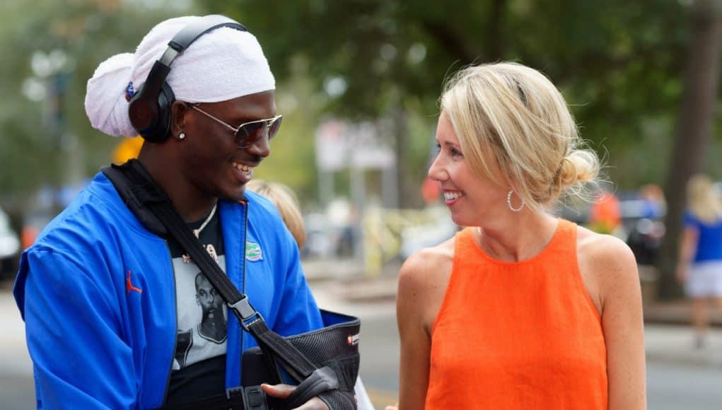 Florida Gators wide receiver Kadarius Toney talks with Megan Mullen before the Towson game- 1280x853