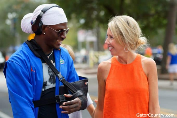 Florida Gators wide receiver Kadarius Toney talks with Megan Mullen before the Towson game- 1280x853