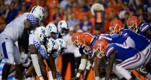 The Florida Gators offense lines up for a play against the Kentucky wildcats in 2018- Florida Gators football- 1280x853