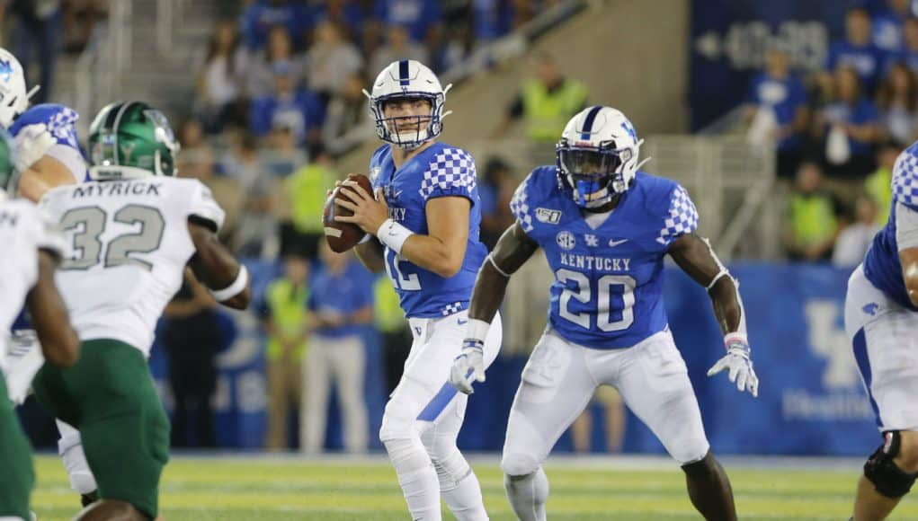 Sep 7, 2019; Lexington, KY, USA; Kentucky Wildcats quarterback Sawyer Smith (12) passes the ball against the Eastern Michigan Eagles at Kroger Field. Mandatory Credit: Mark Zerof-USA TODAY Sports