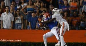 University of Florida cornerback Kaiir Elam intercepts a pass from UTM quarterback John Bachus- Florida Gators football- 1280x853