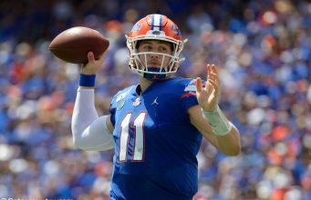 University of Florida quarterback Kyle Trask throws a pass in a win over the Tennessee Volunteers- Florida Gators football- 1280x854