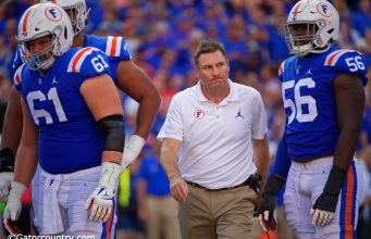 Dan Mullen reacts after an Auburn defender is pushed into Kyle Trask resulting in a MCL sprain for the quarterback- Florida Gators football- 1280x853