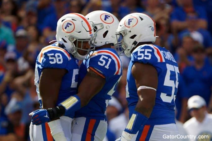 Florida Gators defense celebrates a sack against Auburn- 1280x853