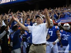 Florida Gators head coach Dan Mullen enters the Swamp before the Auburn game- 1280x853