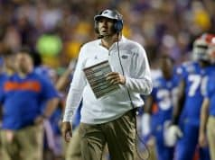 Florida Gators head coach Dan Mullen looks on during the LSU game- 1280x854