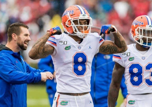 Florida Gators receiver Trevon Grimes celebrates a Gators touchdown- 1280x896