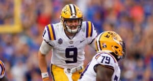 LSU quarterback Joe Burrow calling our protection changes to his offensive line in a loss in Gainesville in 2018- Florida Gators football- 1280x853