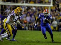 Oct 12, 2019; Baton Rouge, LA, USA; Florida Gators running back Lamical Perine (2) runs against the LSU Tigers during the first half at Tiger Stadium. Mandatory Credit: Derick E. Hingle-USA TODAY Sports