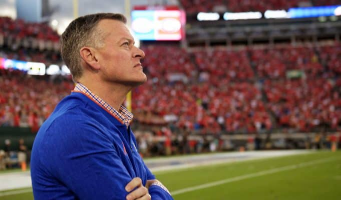 University of Florida athletic director Scott Stricklin watches from the sidelines during the Florida Gators game against Georgia in 2018- Florida Gators football- 1280x852
