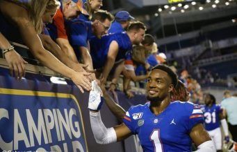 University of Florida cornerback CJ Henderson greeting fans after the Florida Gators win over Miami in the 2019 season opener- Florida Gators football- 1280x853