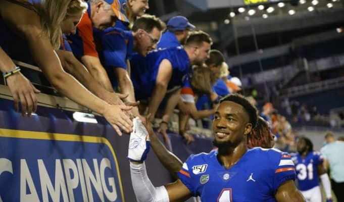 University of Florida cornerback CJ Henderson greeting fans after the Florida Gators win over Miami in the 2019 season opener- Florida Gators football- 1280x853