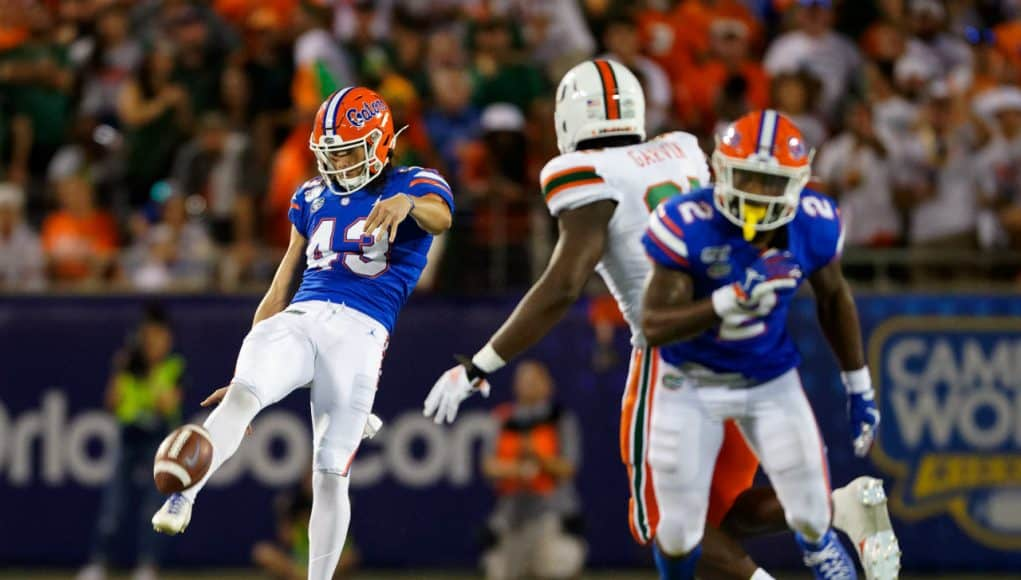 University of Florida punter Tommy Townsend punts the ball in the 2019 season opener against the Miami Hurricanes- Florida Gators football- 1280x853