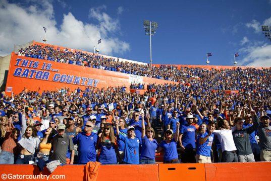 University of Florida fans cheer on as the Florida Gators beat the Vanderbilt Commodores 56-0 in 2019- Florida Gators football- 1280x853