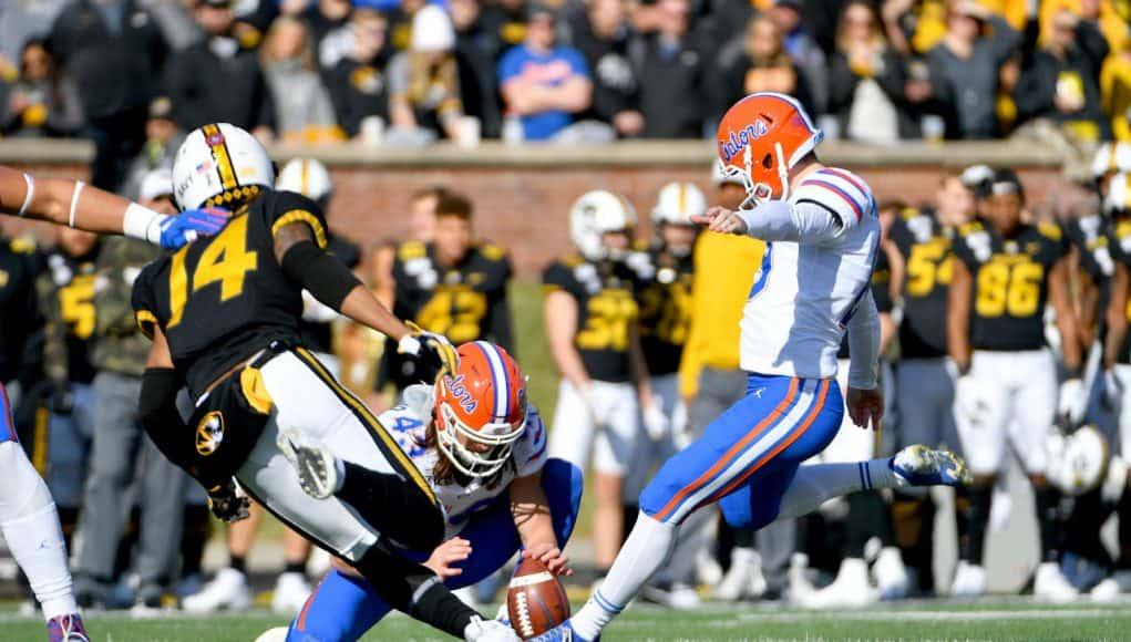 Florida Gators kicker Evan McPherson kicks a field goal against Missouri- 1280x819