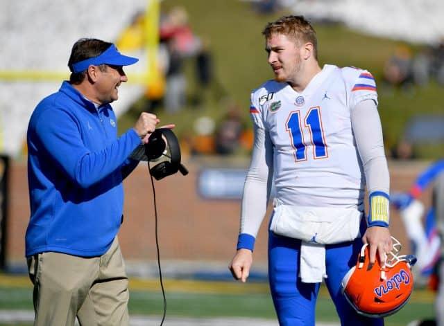 Florida Gators quarterback Kyle Trask talks to Dan Mullen against Missouri-1280x942