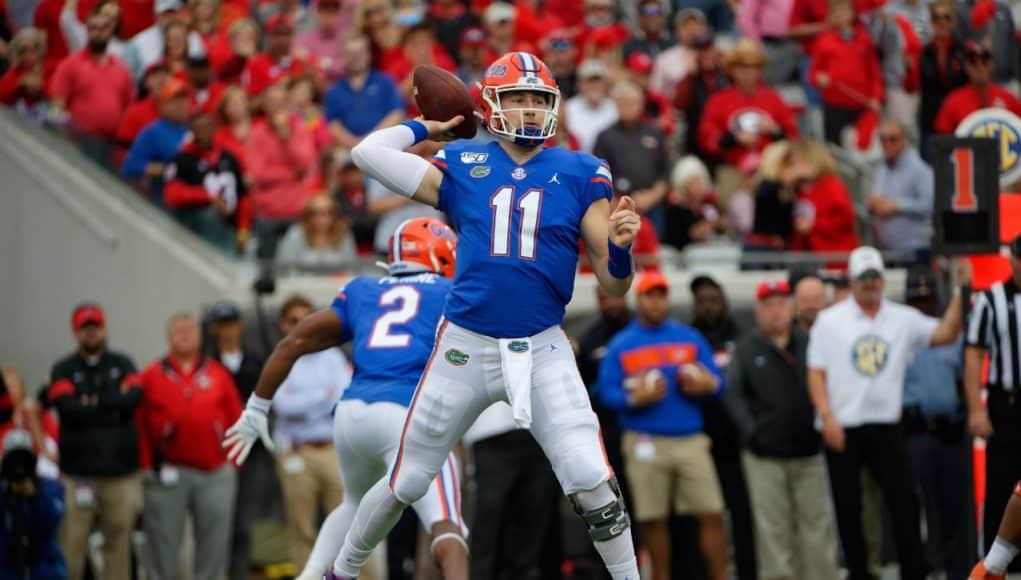 Florida Gators quarterback Kyle Trask throws a pass against Georgia- 1280x853
