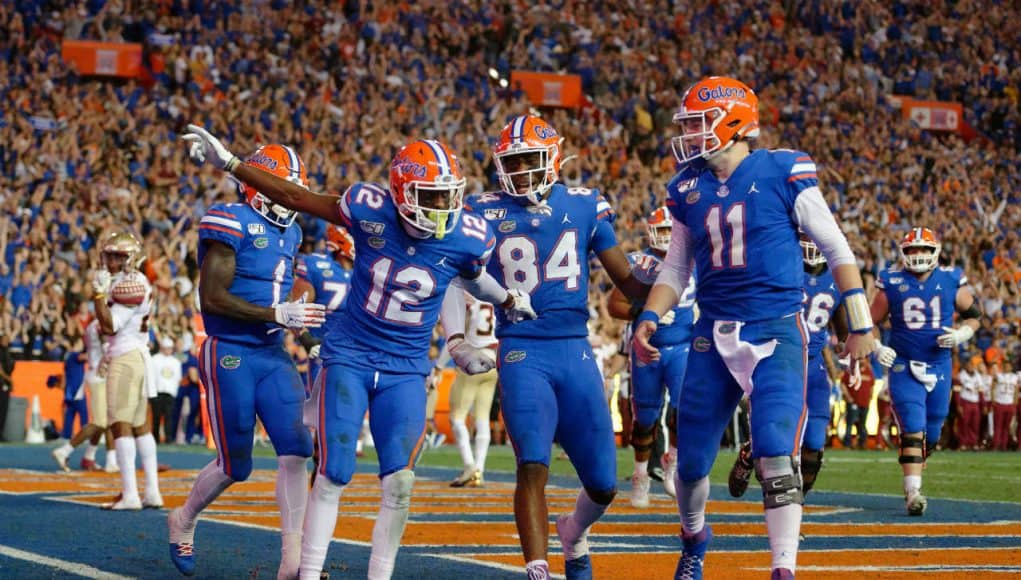 Florida Gators receiver Van Jefferson celebrates a touchdown against FSU- 1280x852