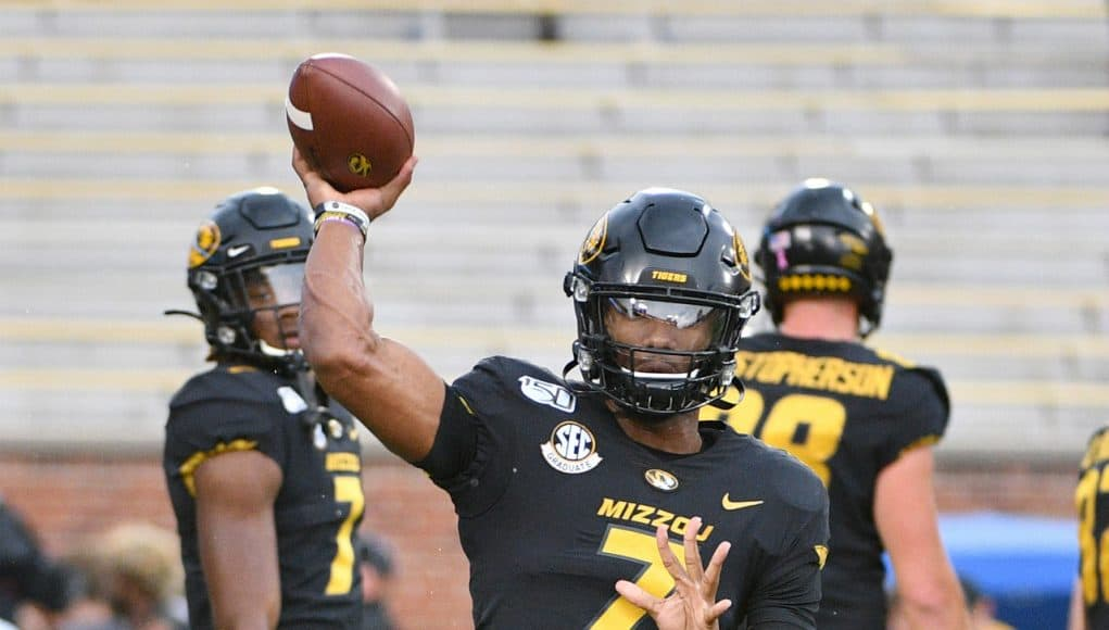 Oct 5, 2019; Columbia, MO, USA; Missouri Tigers quarterback Kelly Bryant (7) warms up before the game against the Troy Trojans at Memorial Stadium/Faurot Field. Mandatory Credit: Denny Medley-USA TODAY Sports