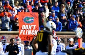 Nov 16, 2019; Columbia, MO, USA; A Florida Gators signaler holds up a sign on the sidelines during the second half against the Missouri Tigers at Memorial Stadium/Faurot Field. Mandatory Credit: Denny Medley-USA TODAY Sports