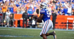University of Florida defensive lineman Jon Greenard returns a fumble 80-yards for a score against the Vanderbilt Commodores- Florida Gators football- 1280x853