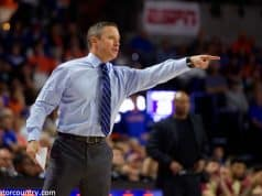 University of Florida head basketball coach Mike White coaching during a los to Florida State- Florida Gators basketball- 1280x853