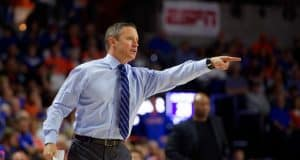 University of Florida head basketball coach Mike White coaching during a los to Florida State- Florida Gators basketball- 1280x853