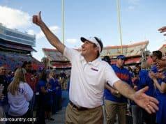 University of Florida head coach Dan Mullen walks off the field after a win over Vanderbilt at Ben Hill Griffin Stadium- Florida Gators football- 1280x853
