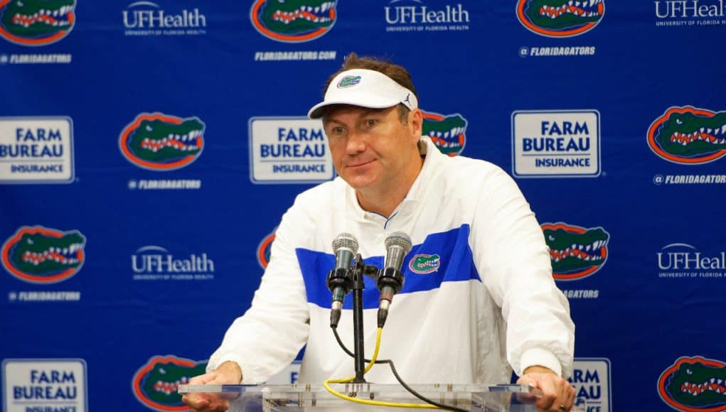 University of Florida head football coach Dan Mullen addresses the media after the Florida Gators' 24-17 loss to Georgia- Florida Gators football- 1280x853